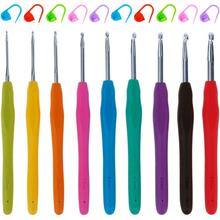 9 шт. в упаковке, высококачественные Алюминиевые крючки для вязания крючком, иглы с красочными мягкими резиновыми ручками для вязания крючком, 10 шт
