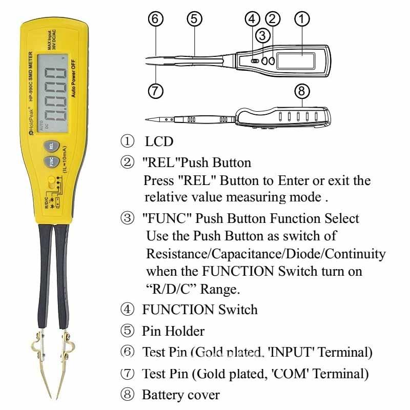 Holdpeak HP-990C SMD Digital Insulation tester Multimeter Auto Power off Resistance Capacitance Power Battery Insulation Tester 2