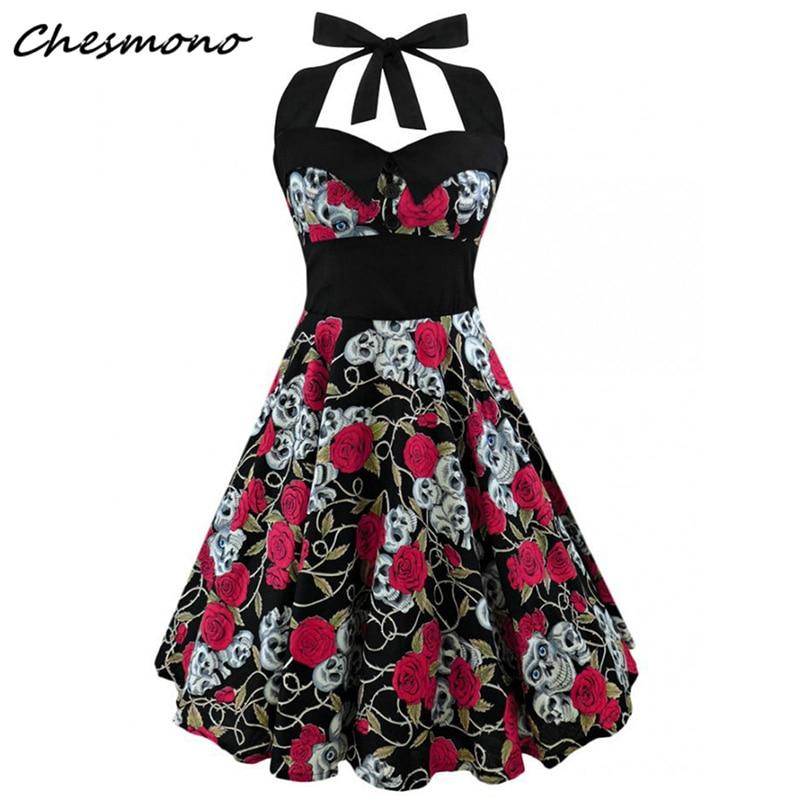Plus Größe Frauen Floral Schädel Druck Off Schulter Sexy Halter Kleid Retro Vintage Hepburn Stil 2018 Neue Pin Up Rockabilly vestido