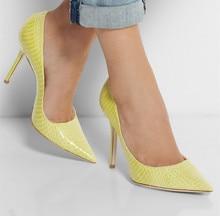 Gelb Schlange Geprägtes Leder Spitz Frauen Pumpt Slip-on Pumpen High Heel Stilettos Heels Schuhe Frauen Größe 15 OL Schuhe Party