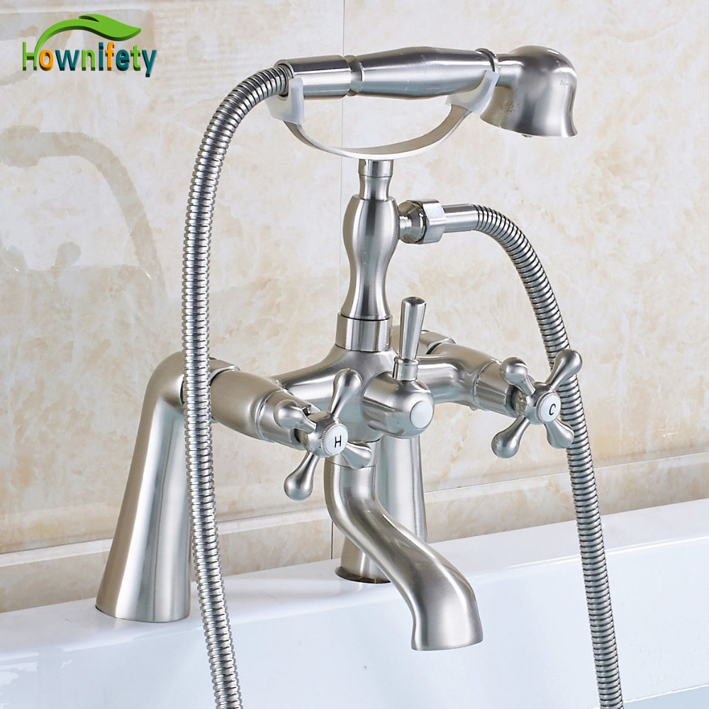 Brushed Nickel Bathtub Faucet Double Handles Mixer Shower Faucet with Hand Shower Deck Mount