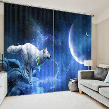 Animal Curtains Bedding Living Room 3D Wolf Print Cortians Thick Sunshade Window Curtains Custom-made Size