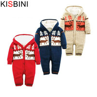 KISBINI Baby Rompers Winter Thick Climbing Clothes Newborn Boys Girls Warm Romper Knitted Sweater Christmas Deer Hooded Outwear