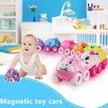 Carros Brinquedos 8 pcs Car Veículos Toy Presente Bonito Magnético Animais Enigma Brinquedos Do Bebê Presentes de Aniversário Dos Desenhos Animados Mini Início Crianças