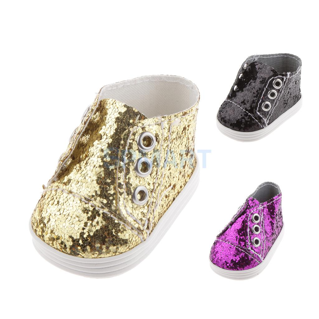 1 Pair of Fashion Sequin Shoes for 1/4 42-45cm BJD Bling Sneakers for 18 INCH American Girl Dolls Golden/Black/Purple Available