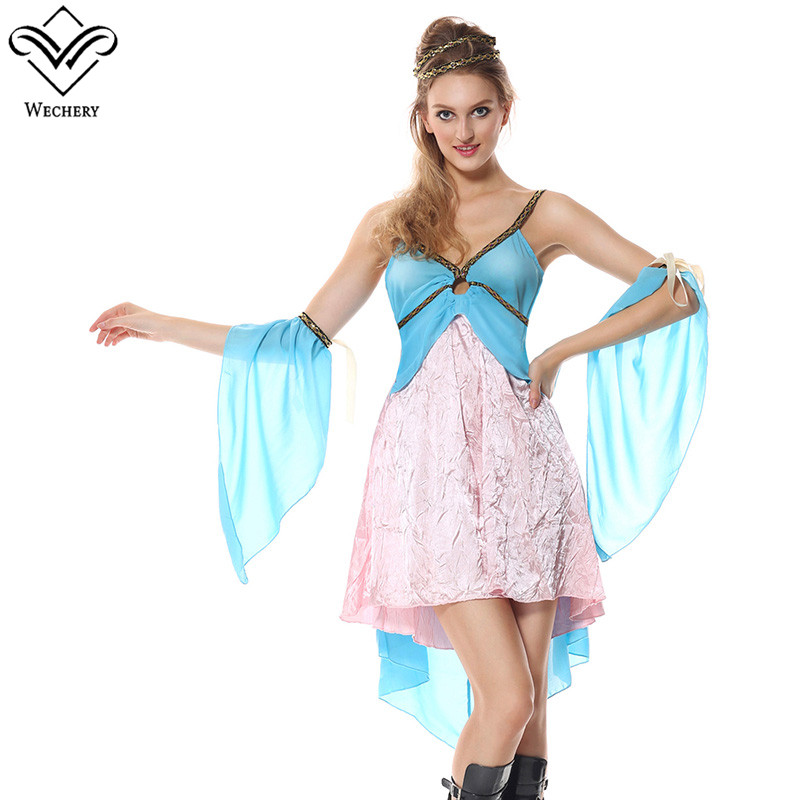 Wechery Ancient Retro Women Costume Sexy Blue Pink Floral Spaghetti Strap Short Dress for Party Holiday Loose Plus Size