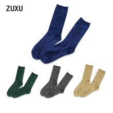 high quality fashion shining socks warm autumn winter thickened knitted thermal women brand long harajuku boot socks christmas(China)