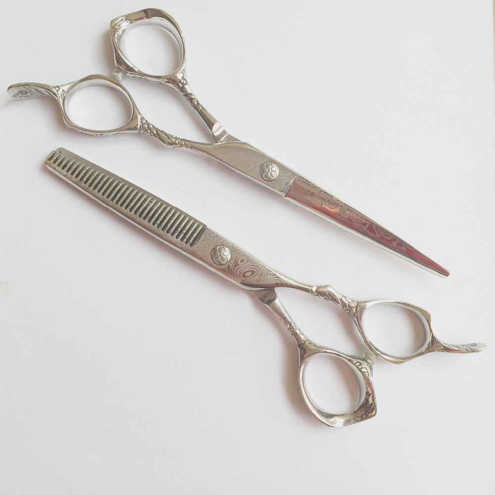 6 0 inch damascus pattern on blade and plum blossom handle design professional hairdressing scissors set