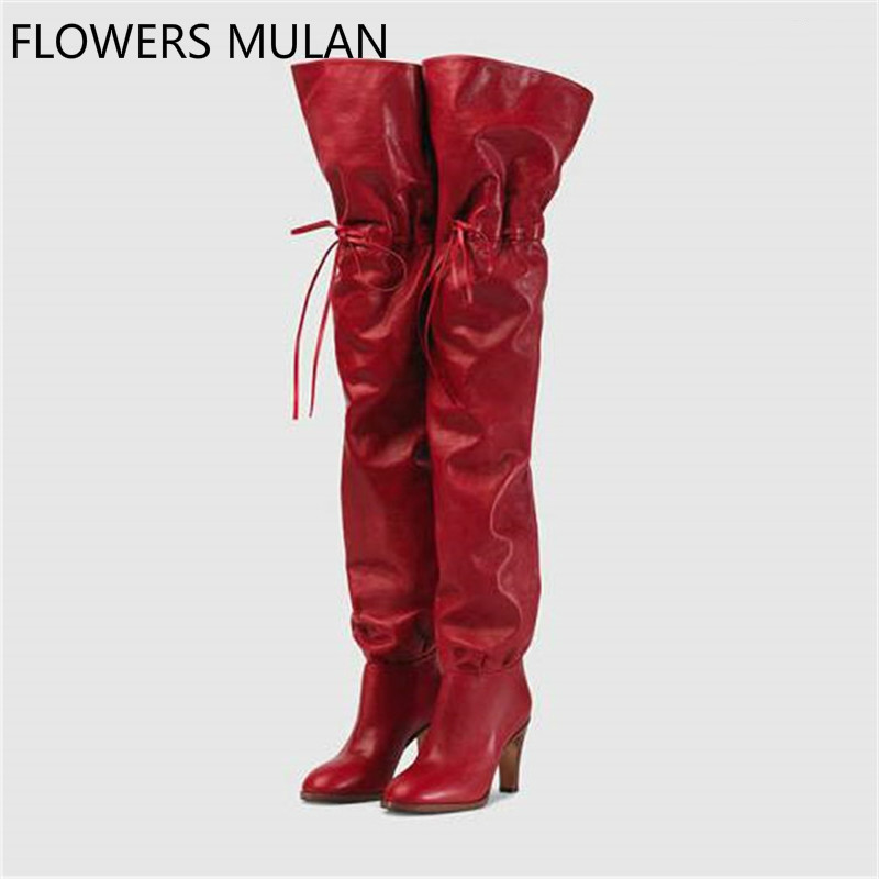 2018 New Autumn Winter Boots Women Red Soft Leather Over The Knee Boots Slip On High Heels Tall Boots Brand Designer Shoes on tall pine lake