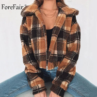 Forefair Winter Women Fleece Jacket Autumn 2018 Brown Plaid Casual Slim Cropped Teddy Bear Faux Fur Jacket Coat Women