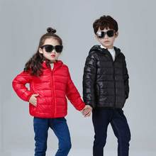 Autumn Winter Jacket Children Ultra Light Down Jacket Kids Hooded Coat 90% Duck Down Jacket Boys Girls Thin Feather Short Parka girls duck pattern hooded jacket