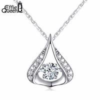 Effie Queen 100 Real 925 Sterling Silver Necklace For Women Unique Design Flickering Zircon Pendant Necklace