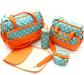 2016 new wave point orange mummy bag five sets of multi feature large capacity fashion flower shake cloth mother bag