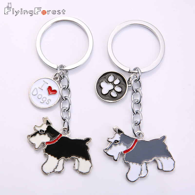 Drop Shipping DIY Pet Key Chain Metal Key Ring Մեծածախ նվեր Pink Schnauzer Keychains Կին բանալիներ Շներ Tag Key Charm Cheap