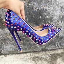 2019 Fashion free shipping Women blue spike Patent Leather Poined Toe Stiletto high heel shoe pump HIGH-HEELED SHOE Wedding