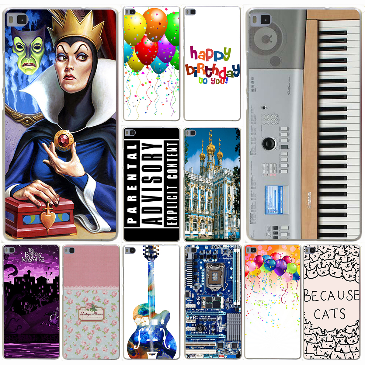 Keyboard Digital Piano Vintage floral love is the flower Hard Case for Huawei P9 P8 Lite P9 Plus P6 P7 G7 & Honor 6 7 4C 4X