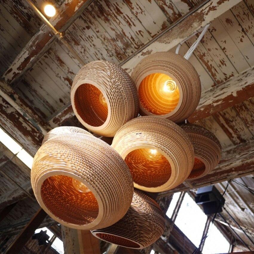 Sud-est asiatique pastorale ver à soie lustre lumières papier Pupa fait café barre suspension lampe Style nordique salle à manger suspension - 5