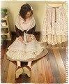 Bosque japonés lolita bohemia del hippie de boho vintage impresión de algodón de lino floral crochet encaje bordado patchwork una línea de falda de caída