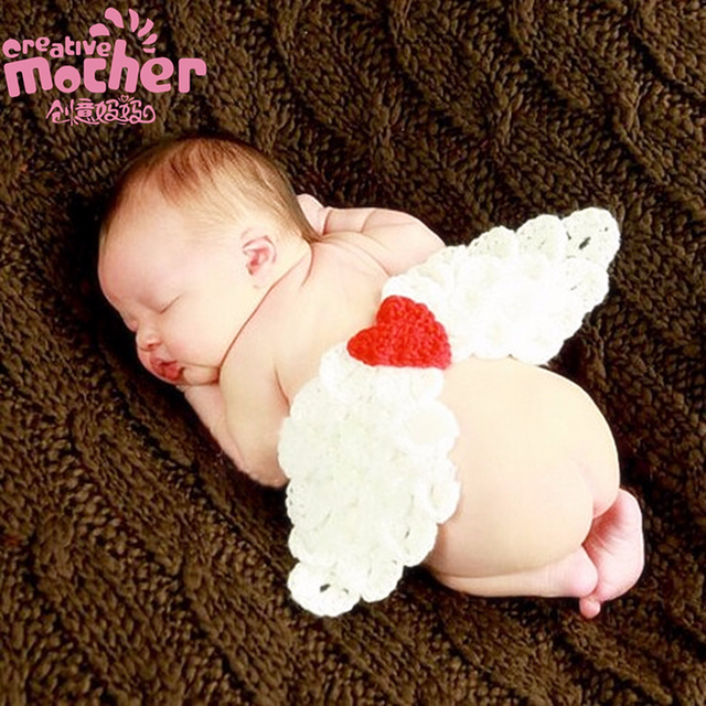 Lovely baby angel wing newborn photography props set baby angel fairy white feather wing costume photo