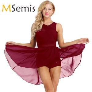 Image 1 - נשים מבוגרים בלט שמלת בלט בגדי גוף לנשים שרוולים לגזור אסימטרית שיפון בלט ריקוד התעמלות בגד גוף שמלה