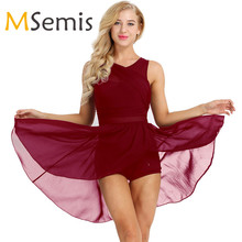 Women Adult Ballet Dress Ballet Leotards for Women Sleeveless Cut Out Asymmetric Chiffon Ballet Dance Gymnastics Leotard Dress
