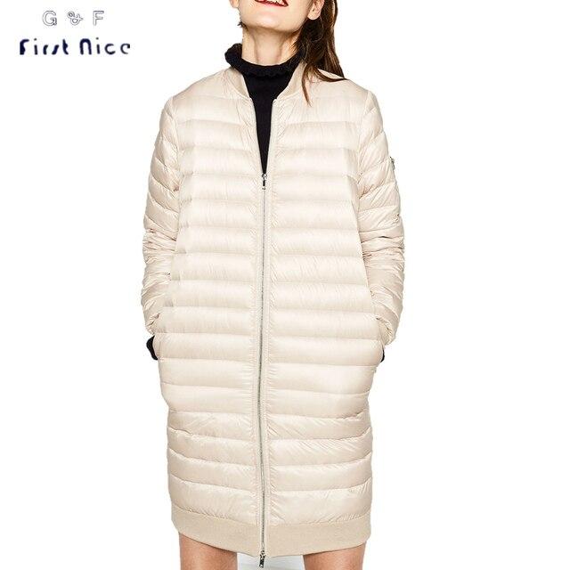 Mujeres Abrigo de Invierno 2016 Delgada Caliente Larga Delgada Abajo y Parkas Cremalleras Cuello de Pie Elegante Ropa Exterior Femenina Casual S-XL Invierno chaqueta