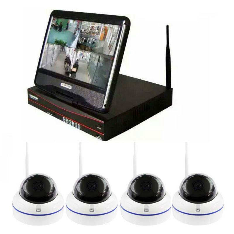 מערכת טלוויזיה במעגל סגור 4CH 720 P HDMI IP מצלמה אלחוטית NVR 4 יחידות 2.0MP מצלמת כיפת IR מערכת מעקב אבטחה