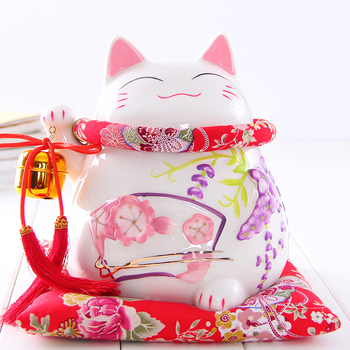 Crafts Arts Home decoration Lucky Cat ornaments large Japanese ceramic piggy piggy bank opened the creative gifts of Wisteria