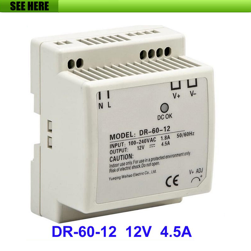 Free Shipping Din rail Single Output Switching Power Supply DR-60-12 60W 12V 4.5A AC To DC Converter meanwell 12v 350w ul certificated nes series switching power supply 85 264v ac to 12v dc