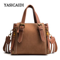Top Handle Bags Female Handbag Pu Leather Scrub Shoulder Bag For Women Stitching Wide Shoulder Strap