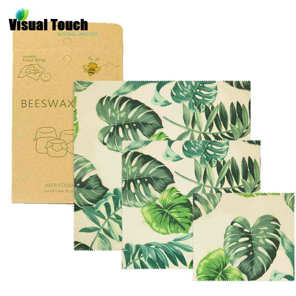 Visual Touch Palm Organic Beeswax Cloth Sandwich Pack Fresh Keeping Bag Lid Cover Food Beeswax Wrap Stretch Seal