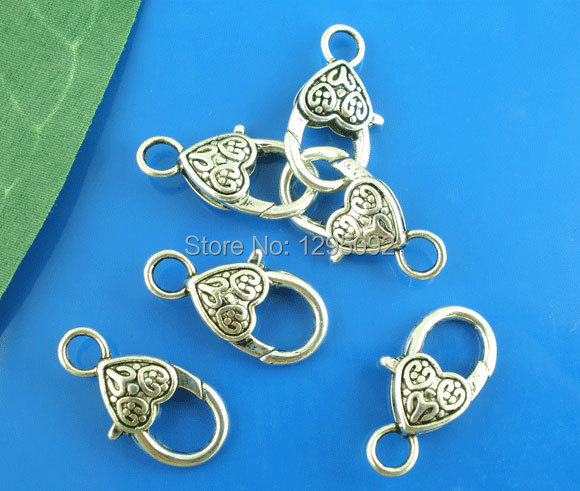 100Pcs Lobster Clasps Fit Link Chain Bracelets Heart & Love Silver Tone Jewelry Making Charms Component Wholesale 25x12mm