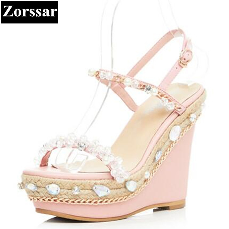 Summer shoes Women Casual Platform wedges sandals open toe woman shoes 2017 Fashion leather rhinestone peep toe High heels woman fashion high heels sandals women genuine leather buckle summer shoes brand new wedges casual platform sandal gold silver
