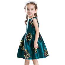 B&N Girl Flower Dress Princess Costume 2017 Short Sleeves Kid Clothes Christmas Dresses For Wedding Party Floral printed Fashion