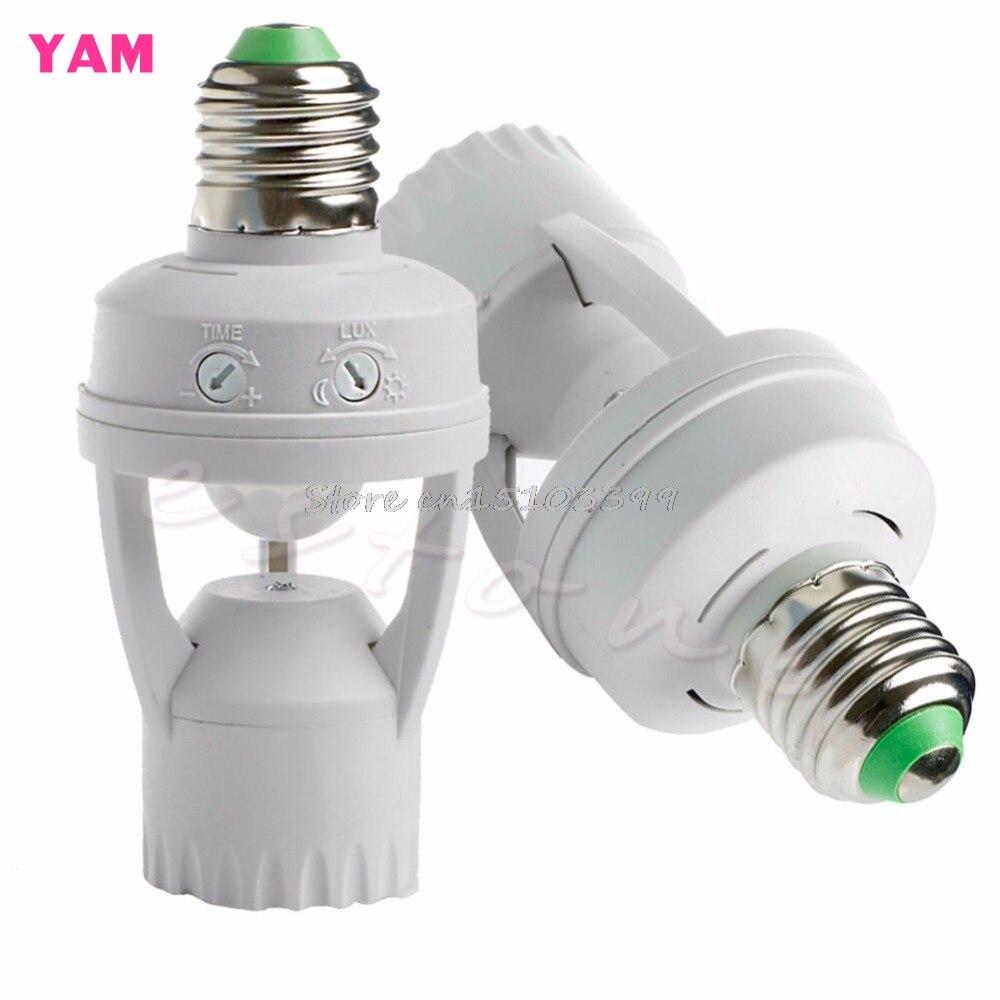 AC 110V 220V Infrared PIR Motion Sensor LED E27 Lamp Bulb Holder Switch Drop Ship e27 led pir motion sensor lamp holder ac 180 240v