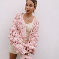 Woman Lantern Sleeves Thick Loom Jumper Female Outwear Jersey Knitted Oversized Pink Cardigan Lady S Sweater