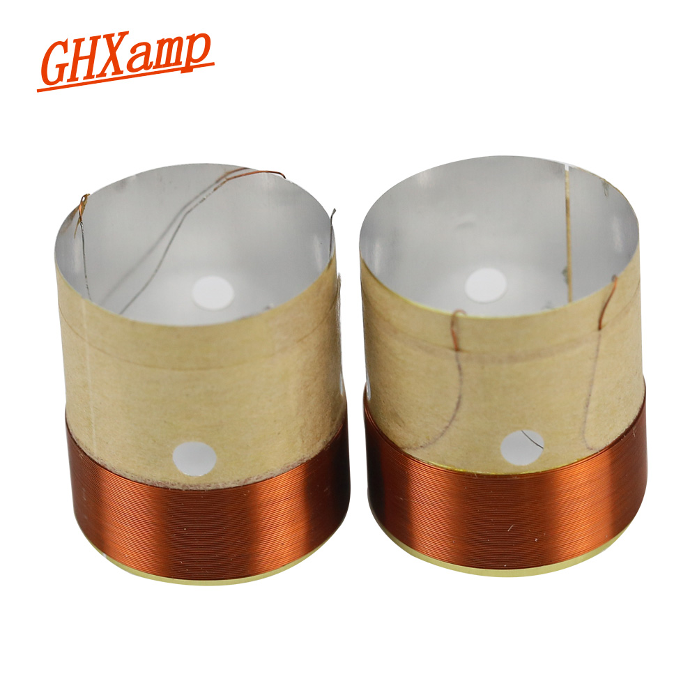 GHXAMP 25.5MM Core BASS Voice Coil 8ohm White Aluminum With Sound Air Outlet Hole For 4 INCH -10 INCH Speaker Repair DIY 1 Pairs
