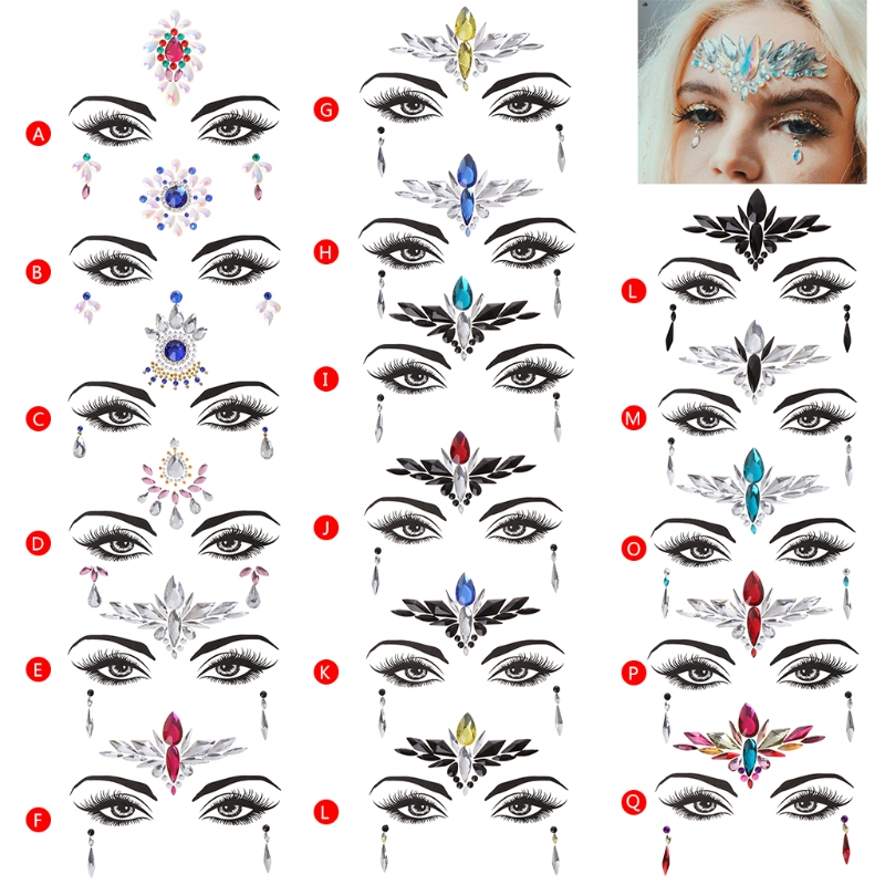 Face Eye Jewel Acrylic Rhinestone 17 Types Art Sticker Tattoo Party Performance