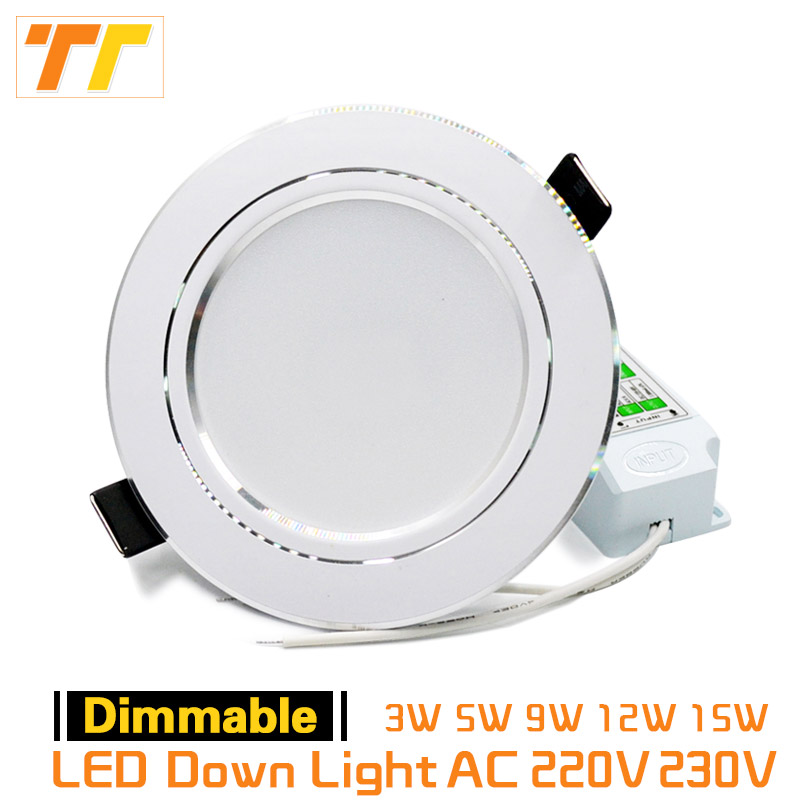 LED Downlight Dimmable 9W 12W 15W 5W 3W 220V 230V Warm White Nature White Cold White Recessed LED Lamp Spot Light indoor light mi light 2 4g 1pcs lot 12w led downlight remote rf control wireless bulb lamp white warm white down light 85 265v