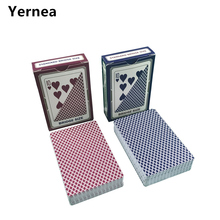 Yernea 4 sets / Lot Poker Red And Blue PVC Poker Playing Cards Plastic Waterproof Frosting Baccarat Texas Hold'em Pokers Game недорого