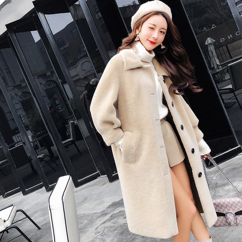 Manteau Manteaux Ayunsue Mujer De Mouton Abrigo D'hiver noir Wyq1708 Femme blanc Coréenne marron Style 2018 Femmes Longue Veste Beige Fourrure Laine Réel Chaud pCPpw4q