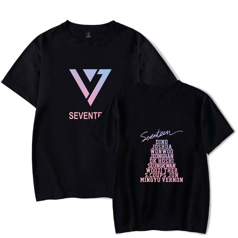 SEVENTEEN T-shirts Summer Fashion Short Sleeve Loose Harajuku T-shirts K-POP Style O-Neck Casual Tee Shirts SEVENTEEN