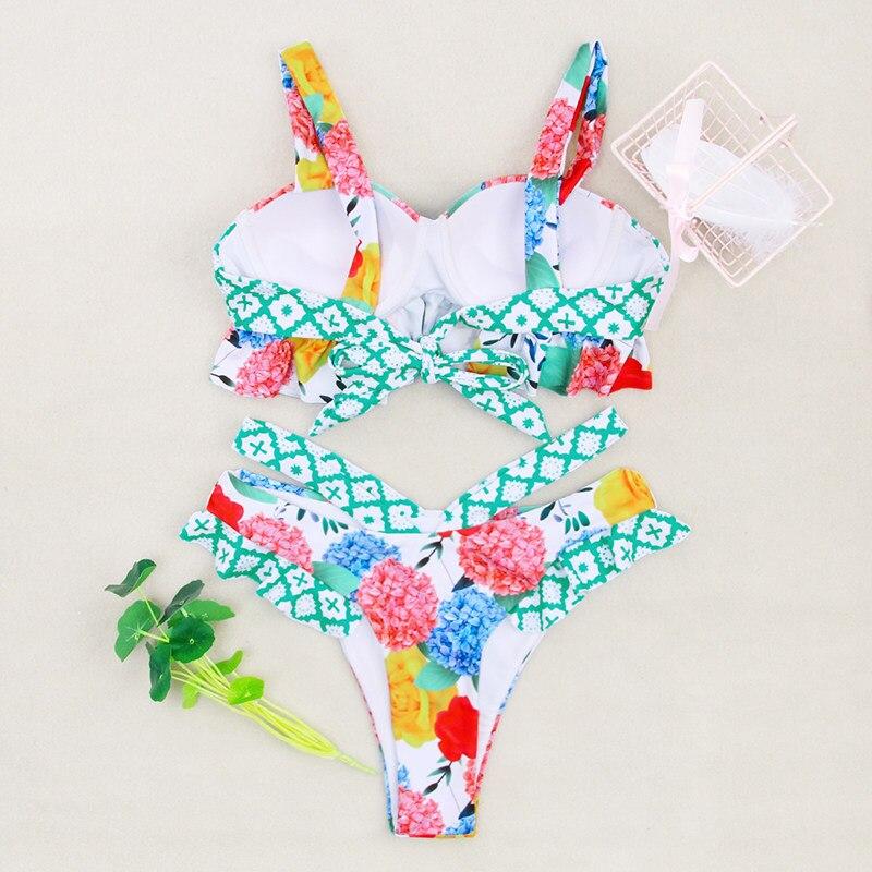 HTB170thbfWG3KVjSZPcq6zkbXXaa Miyouj Ruffle Bikini Off Shoulder Floral Swimsuit Bandage Bow Swimwear Push Up Biquini Feminino Bathing Suit Women Bikini Set