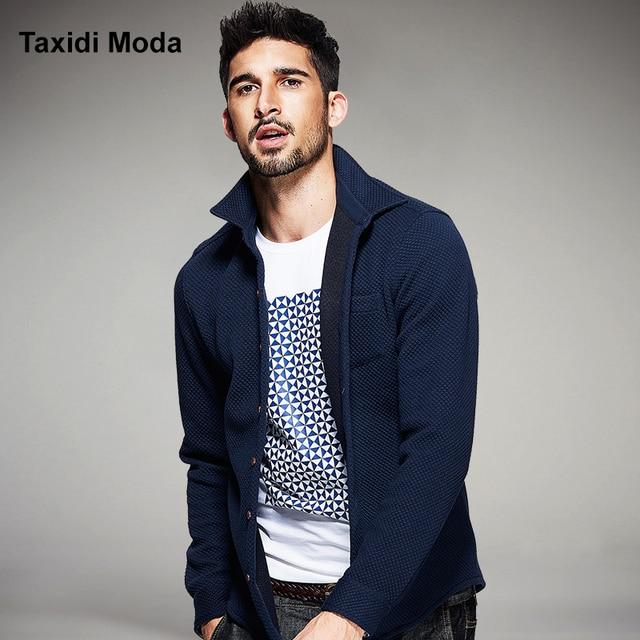 Nova moda outono mens camisas casual clothing grosso manta azul marca de luxo de manga longa slim fit desgaste do homem roupas