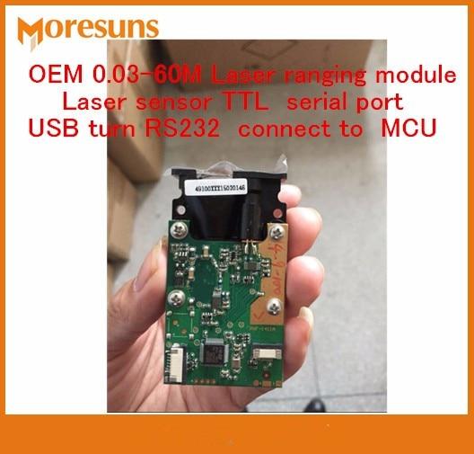 Free Shipping 5PCS TTL serial port  phase method USB turn RS232 connect to MCU OEM 0.03-60M Laser ranging module Laser sensor
