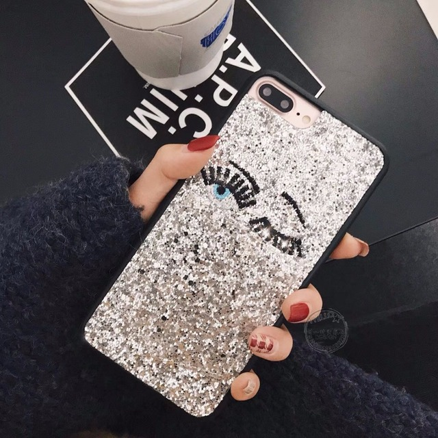 Silicone Sequins Eyes Patterned Case