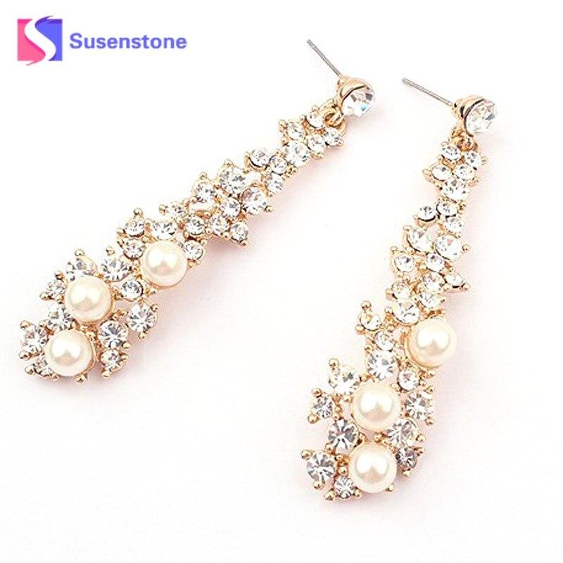 susenstone 2018 Hot Sale female Earrings Women Bohemian Rhinestone Long Earrings New Hot Sales
