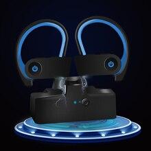 Hadinas TWS หูฟัง 5.0 หูฟังไร้สายกีฬาชุดหูฟังบลูทูธหูฟังสเตอริโอหูฟังพร้อมไมโครโฟนสำหรับโทรศัพท์มือถือวิ่ง