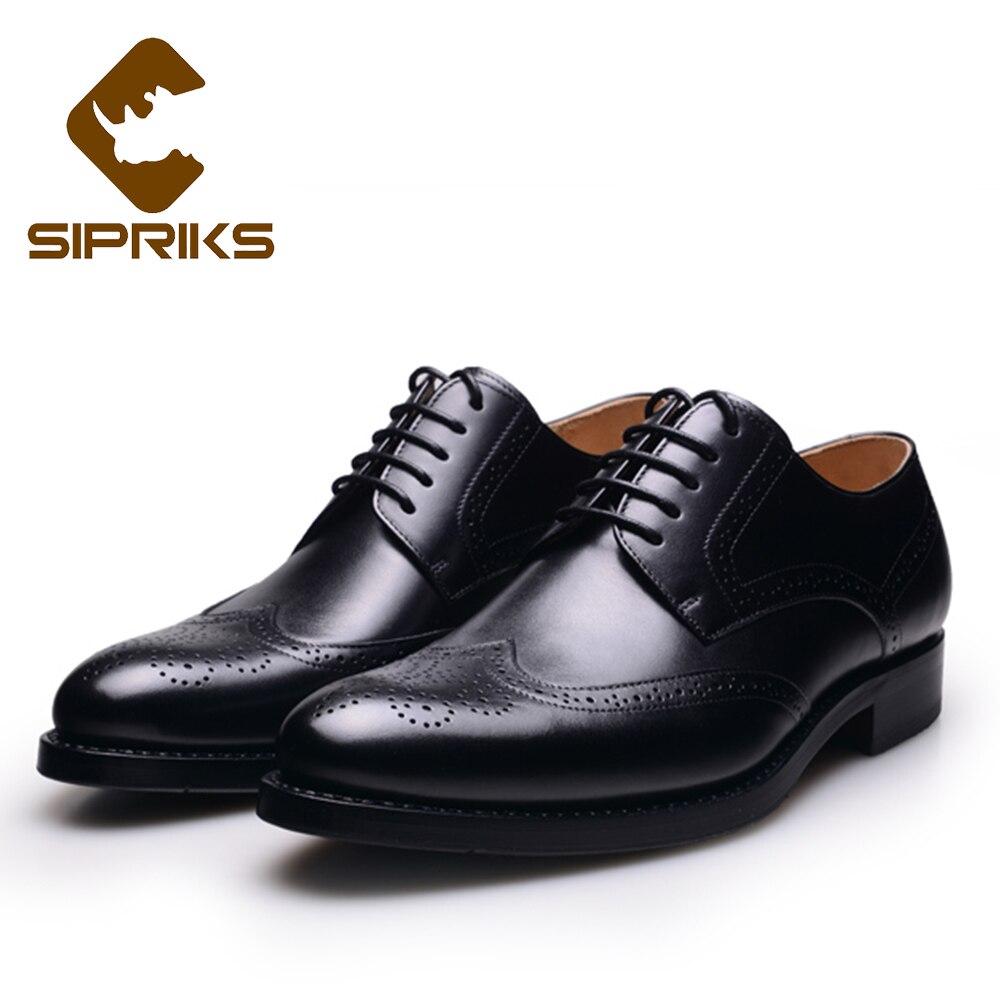 Sipriks Mens Goodyear Scarpe Da Sera In Pelle Tan Completa Brogue scarpe Per Gli Uomini Eleganti Mens Nero Estremità Alari Scarpe di Cuoio Boss nuovo