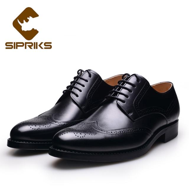 cac4c26b643 Sipriks hombres Goodyear Welted Zapatos de vestir Tan cuero completo Brogue  zapatos para hombres elegante para